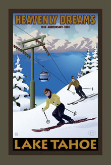 Vintage Lake Tahoe Poster Heavenly